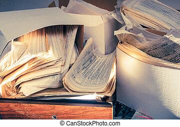 smutsa ner, rörig, papper, dokument
