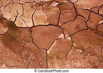 smutsa, struktur, torkat, bakgrund, lera, knäckt, röd