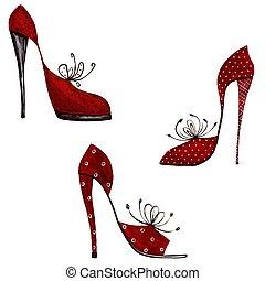 smyckad grundämnen, -, skor