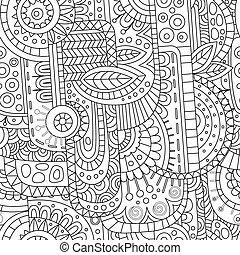 smyckad mönster, abstrakt, geometrisk förfaringssätt, kontur