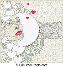 smyckad mönster, kvinnor, komposition, ansikte