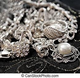 smycken, pärla, närbild, olika, lysande, silver, svart