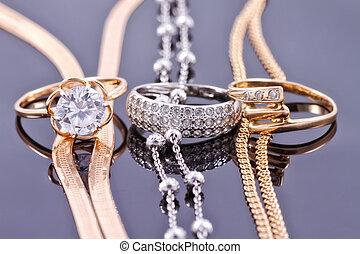 smycken, uppsättningar, av, guld, och, silver