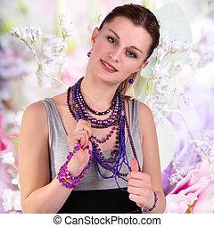 smycken, vacker, abstrakt, bakgrund, flicka