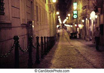 snäv, medeltida, gata, in, gammal by