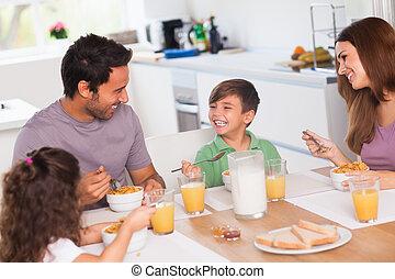 snídaně, smavý, dokola, rodina
