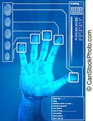 snímání, bezpečný, oprávnění, otisk prstu
