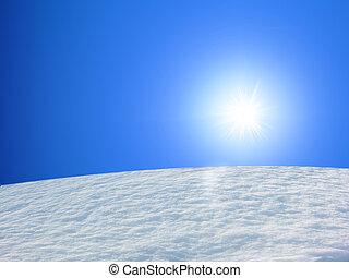snö, fjäll, och blåa, sk