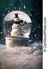 snö glob, in, a, snöig, vinter, inställning