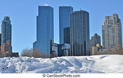 snö, in, centralen parkerar, färsk, york.