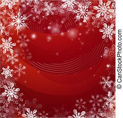 snö, jul, bakgrund, röd