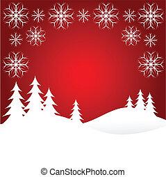 snö, jul, röd, scen