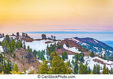 snö, på, montera, lassen, in, den, nationalparken