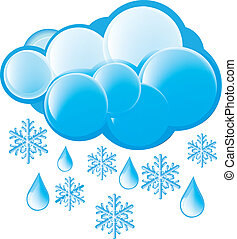 snö, regna, ikon
