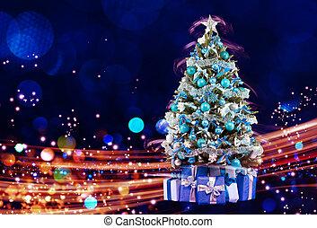 snö täckte, julgran, med, multi färgade, lyse
