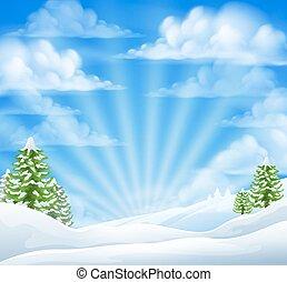 snö, vinter, bakgrund, jul