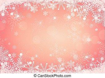 snöflinga, gräns, med, snö, kullar, bakgrund