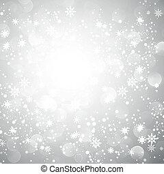 snöflinga, jul, bakgrund, silver