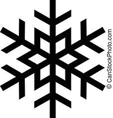 snöflinga, kall, vektor, vinter, ikon