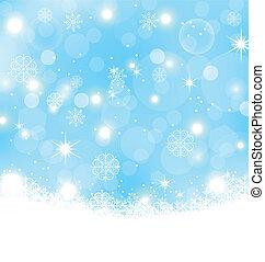 snöflingor, abstrakt, stjärnor, jul, bakgrund