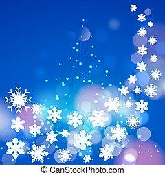 snöflingor, bakgrund, abstrakt, träd., blå, jul, vinter