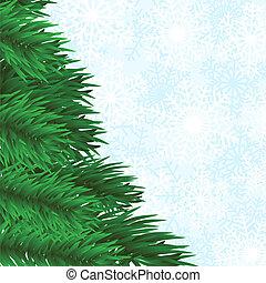 snöflingor, fir-tree, bakgrund