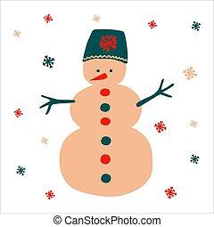 snöflingor, hand, hatt, skandinav, style., jul, format., objekt, snögubbe, traditionell, enkel, fyrkant, vektor, lysande, bakgrund, vacker, illustration, oavgjord, vit