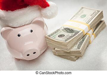 snöflingor, hatt, nasse, lagförslaget, hundra, bank, buntar, tröttsam, jultomten, dollar