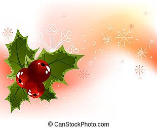 snöflingor, lätt, bär, bakgrund, järnek, jul