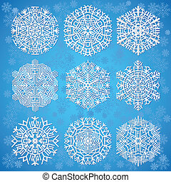 snöflingor, på, blåttbakgrund