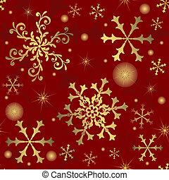 snöflingor, (vector), bakgrund, abstrakt, röd, seamless