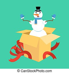snögubbe, box., gåva, illustration, vektor, surprise., år, färsk, öppna, jul