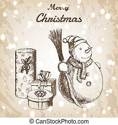 snögubbe, brun, vektor, grunge, vinter, gåva, skiss, årgång, kvast, eller, färsk, jul, bakgrund., papper, år, oavgjord, hand, hatt, style., illustration.