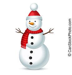 snögubbe, bubo, isolerat, illustration, jul, bakgrund., vektor, röda vita, hatt, randig, scarf