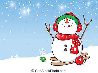 snögubbe, design, för, jul, backgr