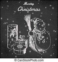 snögubbe, eller, grunge, vinter, gåva, skiss, årgång, kvast, färsk, jul, bakgrund., blackboard, vektor, år, oavgjord, hand, hatt, style., illustration.