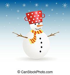 snögubbe, färg, vektor, snöflinga, illustration