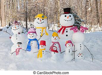 snögubbe, familj