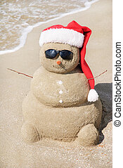 snögubbe, gjord, ute, av, sand., helgdag, begrepp, kan,...