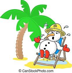 snögubbe, hos, jul, på semester, stranden