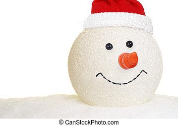 snögubbe, huvud, hatt