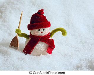 snögubbe, in, snö