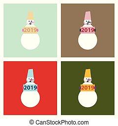 snögubbe, isolerat, illustration, bakgrund., vektor, jul
