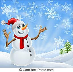 snögubbe, jul, landskap, vinter