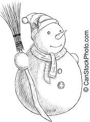 snögubbe, jul, vinter, kvast, årgång, -, illustration, hand, penna, vektor, oavgjord, hatt, style.