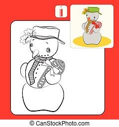 snögubbe, kolorit, barn, illustration, eller, bok, tecknad film, sida