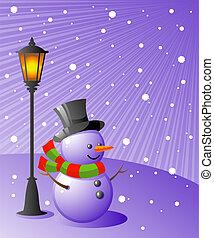 snögubbe, kväll, står, snöig, lampa, under