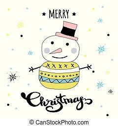 snögubbe, munter, kort, vinter, söt, jul hatt