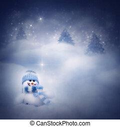 snögubbe, på, den, vinter, bakgrund