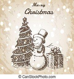 snögubbe, papper, år, style., skiss, årgång, bakgrund., färsk, jul, brun, grunge, hand, hatt, oavgjord, boxas, illustration., gåva, träd, jul, vektor, lång, eller